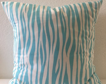 Blue and White Pillow Cover-Free US Shipping-Miami Twill in Girly Blue, Premier Prints, Throw Pillow, Accent Pillow, Bedroom Home Decor