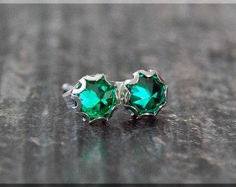 Emerald Earrings. Sterling Silver May Emerald Post Earrings, May Birthstone Earrings, Handmade Emerald earrings, Emerald Stud earrings