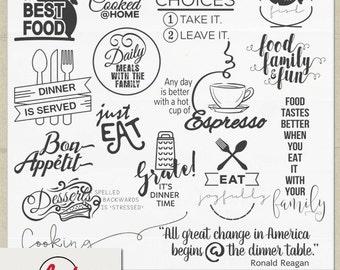 Digital and Printable Overlay Word Art Set - Instant Download - Dinner is Served - Food - Supper - Eating