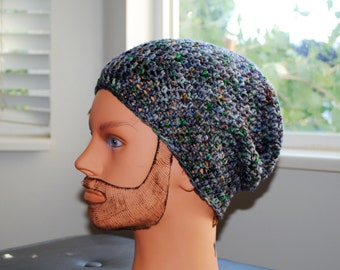 superwash merino wool hand dyed in colorway Grave Rave crochet adult slouchy hat