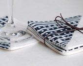 Linen Drink Coasters, Set of 4, Handprinted Sister Parish Navy Bolero Fabric