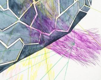Geometric art, abstract watercolor, grey, pattern