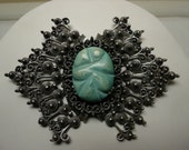 Vintage Silver & Turquoise Brooch Huge Dimensional Ethnic Gypsy Mexican