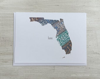 Florida Home Greeting Card | Vintage License Plate Art | State Outline | Blank Notecard