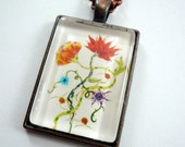flower pendant, Wearable art, Art necklace, glass pendant , art jewelry, photo necklace, flowers,  whimsical art
