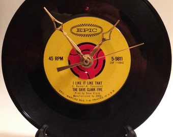 "Recycled DAVE CLARK FIVE 7"" Record / I Like It Like That / Record Clock"