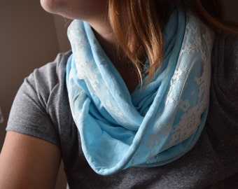Sky/Robins Egg Blue Infinity Scarf with Cream Lace Trim - Jersey Scarf