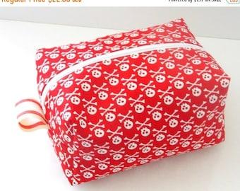CHRISTMAS In JULY SALE Red Skulls Makeup Bag  - Cosmetic Pouch -  Lunch Bag - Wet Bag -Waterproof Bag