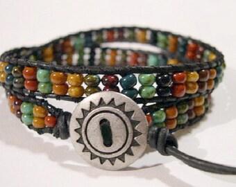 Beaded wrap bracelet, Wrap bracelet, Beaded LeatherWrap, Boho bracelet, Beaded wrap - 860