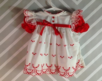 vintage white and red floral embroidered ruffled baby girls dress by jcpenney toddletime size 12 months / 1 year