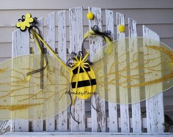 Bumble Bee Wings - Halloween Costume Wings -  Antenna Headband - Bumble Bee Wand - 3 Piece Accessory Set