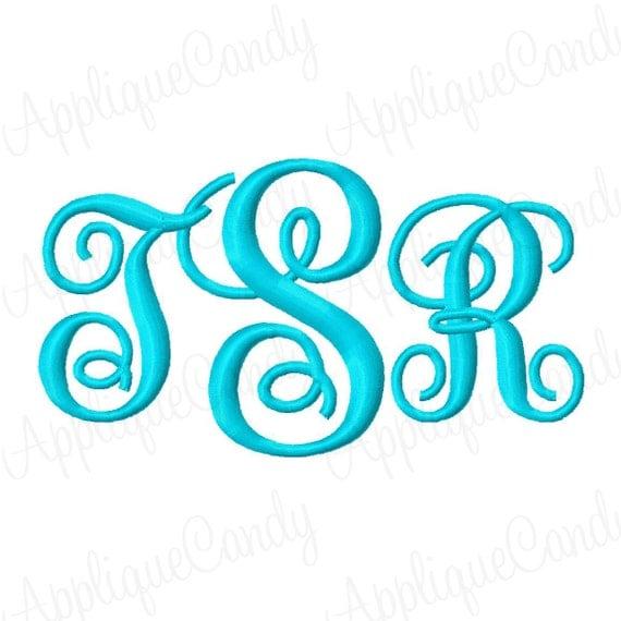 Swirl kk monogram font set machine embroidery by appliquecandy