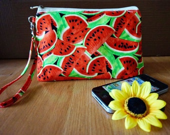 Watermelon Makeup bag, Red makeup bag, Summer makeup bag , Watermelon gift, SUMMER pouch , watermelon makeup pouch, watermelon summer gift