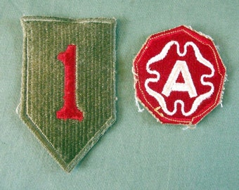 WW2 First Infantry Division Patch and 9th Army Shoulder Patch, Nice WW2 Shoulder Patches