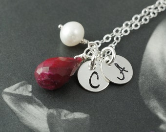 Ruby necklace, personalized two disc necklace, simple necklace, white pearl, sterling silver necklace