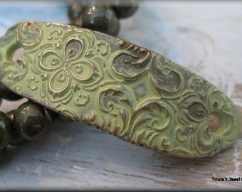 Handmade Solid Bronze  Rustic Bracelet Component - Shabby Chic Yellow Patina!