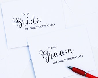 To My Groom / Bride On Our Wedding Day Card / White / Blank Inside / Vows Card