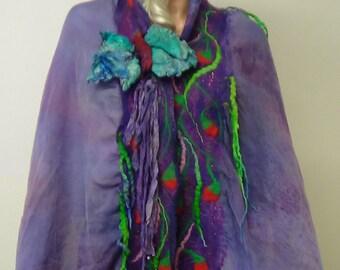 Shawl,Violet , Fairy, Nuno felted, Handmade, in USA, Felted art, Wearable art, Organic, Fashion accessory, Women top, Fiber art, Artistic