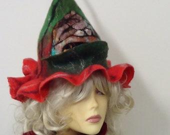 Festival wool hat, Felt hippie hat, Fun summer hat, Handmade knit hat, Womens hats, Woolen hat, Boho hat, Wool hat, Unique hats, Fairy hat