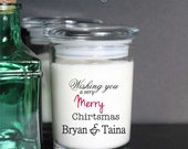 Merry Christmas Custom Soy Candle personalized 10oz Feliz Navidad
