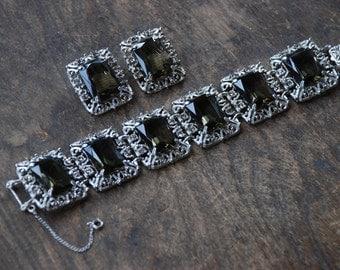 Vintage SARAH COVENTRY Clip On Earrings Link Bracelet Large Smoky Quartz Rhinestones Filigree 1960's // Vintage Designer Costume Jewelry