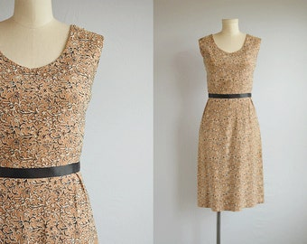 Vintage 1950s Dress / 50s Embroidered Linen Wiggle Dress / Cocoa Brown Linen Sheath Dress