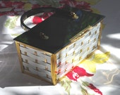 Vintage 50's/ 60's 'Majestic' Box Purse . Black Lucite Lid & Handle . Silver Gold Basket Weave Handbag . Large Size . Mid Century Modern .