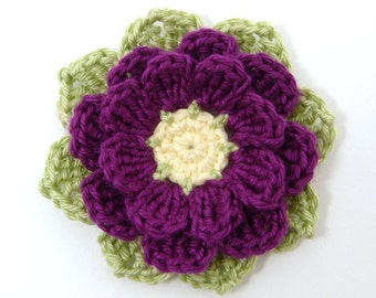 Crochet appliques, crochet flowers, 1 large eight-petal applique flower. Cardmaking, scrapbooking, craft embellishments,sewing accessories.