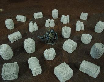 Barrels Crates Chests Sacks SET - Warhammer terrain scenery 40k wargames D&D dnd