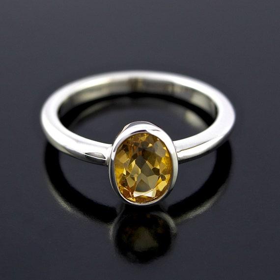 November Birthstone Ring. Orange Citrine Ring in Sterling Silver. Oval shape Orange Citrine Ring in 925 Sterling Silver - CS1505