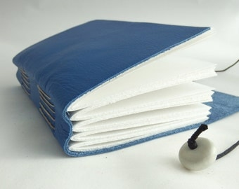Blue Leather Journal, Blank Book, Memory Book, Leather Hand Bound Notebook, Leather Sketchbook, Mindfulness Journal, Bucket List