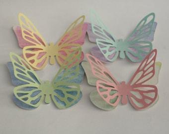 16 watercolor butterflies, handpainted watercolor paper,  Die cut shape butterflies, with outspread wings, flying butterflies. Rainbow