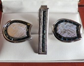 Vintage Anson Sterling Silver Blue Rhinestone Cufflink Set
