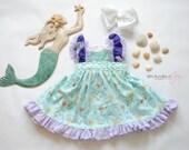 "Mermaid Birthday Dress - Mermaid Dress - Mermaid Ruffle Dress - Mermaid Outfit - Under the Sea Dress - ""Mermaid Kisses"""