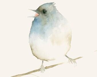 Tiny Bird and Berries Original Watercolor Painting