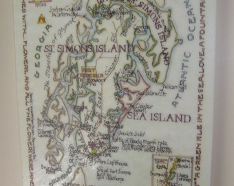 St. Simons Island, Little St. Simions, and Sea Island, Georgia on Plexiglass