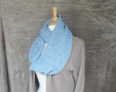 Long Cowl Scarf, Organic Merino Wool, Raindrop Design, Pale Blue Scarf, Long Wrap Scarf, Infinity Scarf, Hand Knit