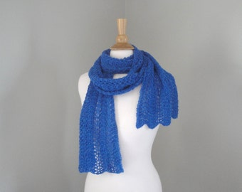 Extra Long Luxury Lace Scarf, Bright Blue, Baby Alpaca, Hand Knit, Wrap Scarf, Gift for Her