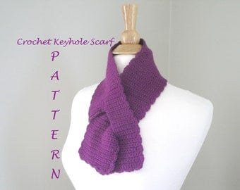 Crochet Keyhole Scarf, Easy PDF Pattern, Neck Warmer Pull Through Ascot, Sport Weight Yarn