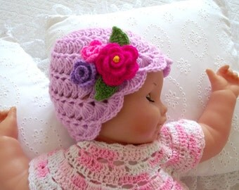 CROCHET Baby HAT PATTERN  - Bonita Hat - Beanie Pattern for babies hat with crochet flowers Instant Download pdf pattern