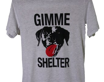 New! All sizes Men's unisex Heather grey Gimme Shelter Rock n roll dog rescue t shirt Benefits Rescue efforts