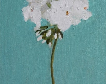 White Geranium Still Life Flower painting, Original oil on FLAT canvas panel, floral still life, 8x10 inch Canadian Fine Art