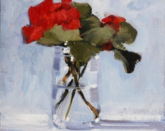 Red Geranium Floral Still Life Painting, Original Oil on unframed 8x10 inch wood panel, Canadian Fine Art