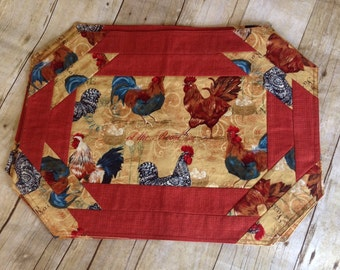Rooster print Quilted placemat set