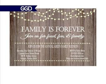 Rustic Family Reunion Invitation with Lights on Wood, rustic invitation, family reunion invitation, printable invitation