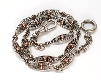 Gorgeous French Victorian Sterling Silver and Gold Filgree Chain