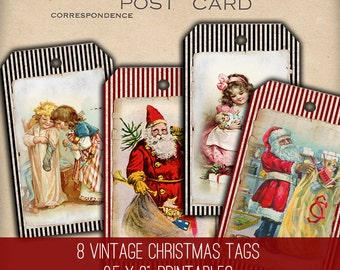 Christmas Tags - 1194 - Digital Image - Instant Download Printables