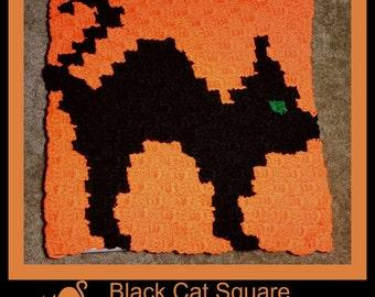 C2C Graph, Black Cat Square, C2C Graph,  Written Word Chart, Halloween Graph, Halloween C2C, black cat graph, black cat c2c