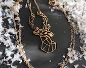 REINDEER : geometic 14kt gold dainty deer silhouette necklace