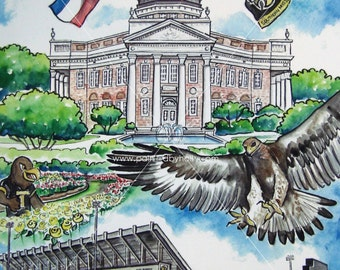 University of Southern Mississippi Art // Southern Miss Watercolor Painting // Golden Eagles // Artwork Print
